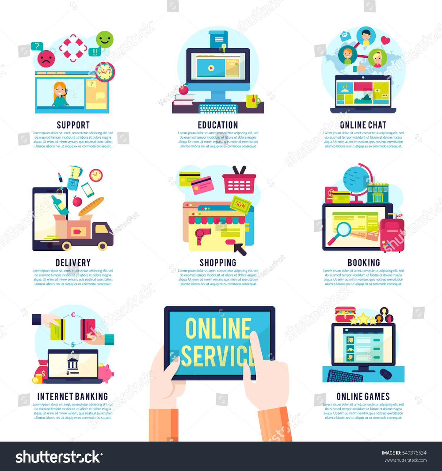 internet service infographics online operations actions stock