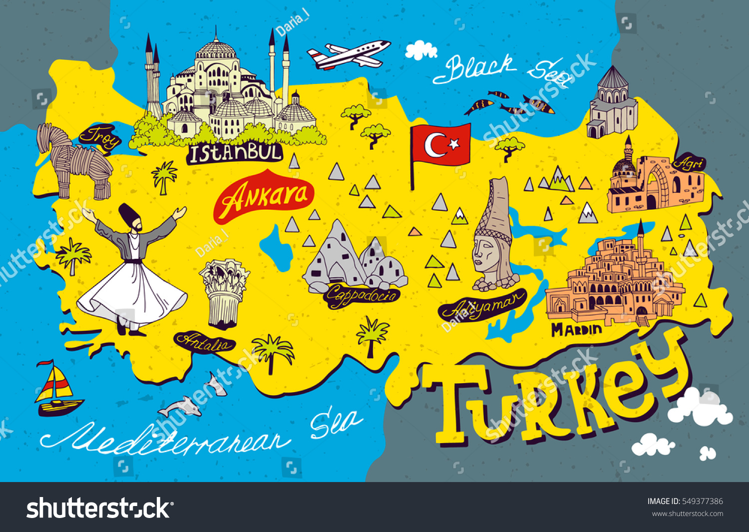 Cartoon Map Turkey Travel Attractions Vector 549377386 – Turkey Tourist Attractions Map