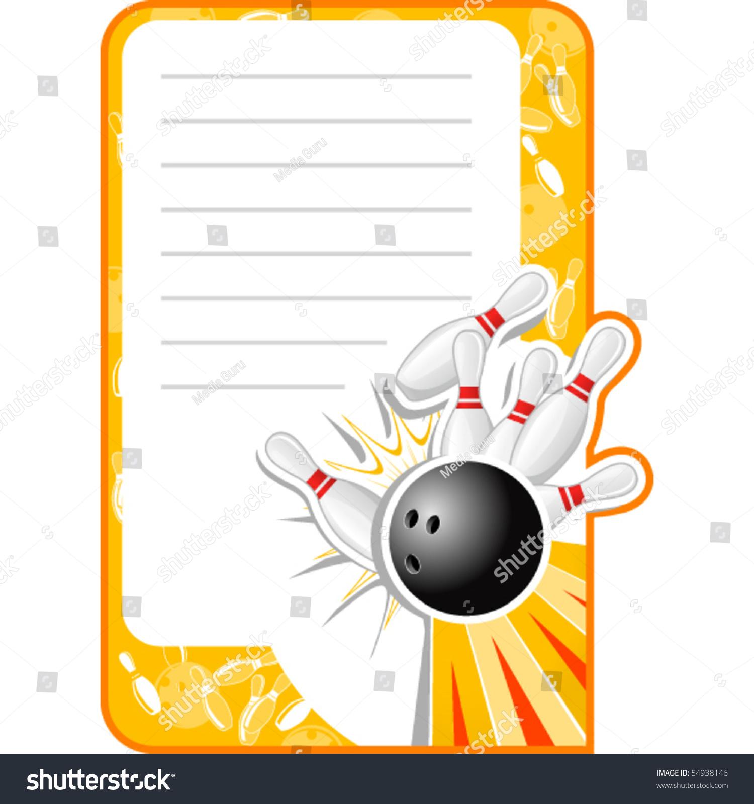 Blank Bowling Invitation Retro Style Copy Vector 54938146 – Bowling Invitation