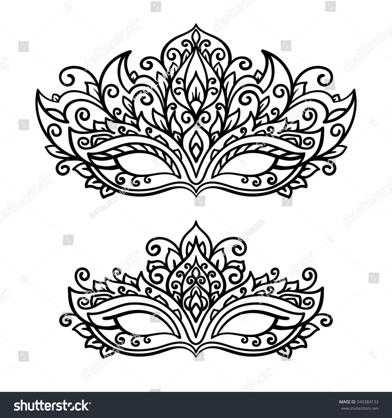 Vector Illustration Contor Mask Set Holiday Stock Vector 549384133 ...