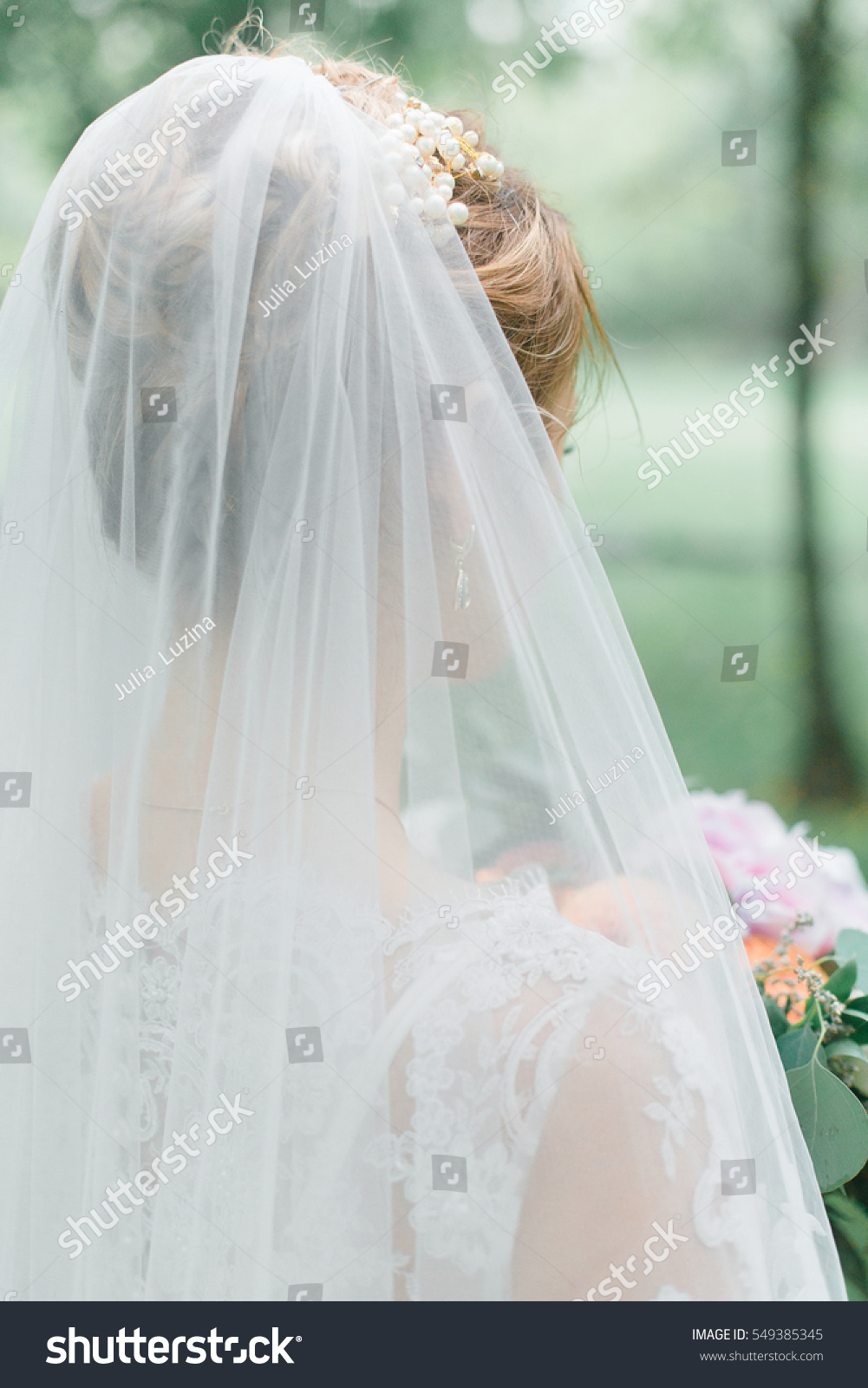 Tender Blond Bride White Dress Veil Stock Photo (Royalty Free ...