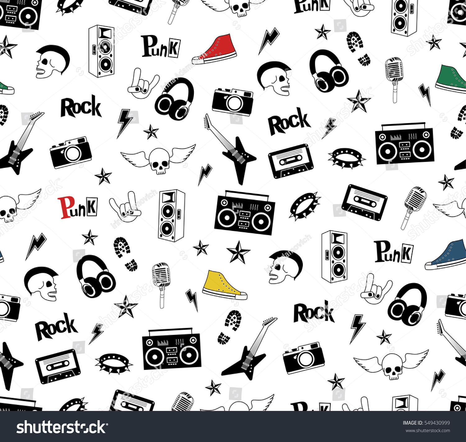 Punk Rock Seamless Pattern Isolated On Vector de stock549430999 ...