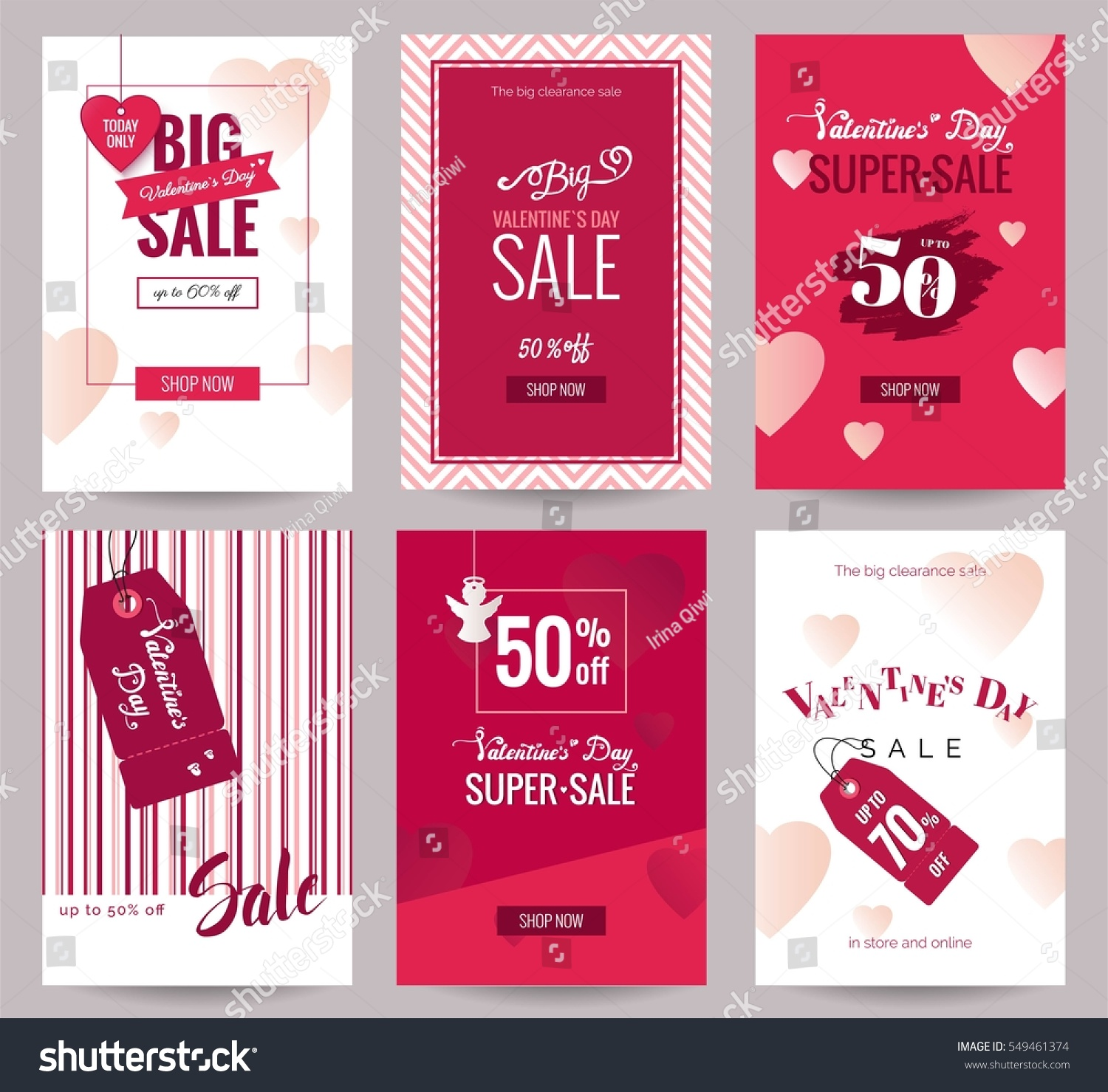 Collection Valentines Day Sale Flyer Templates Stock Vector