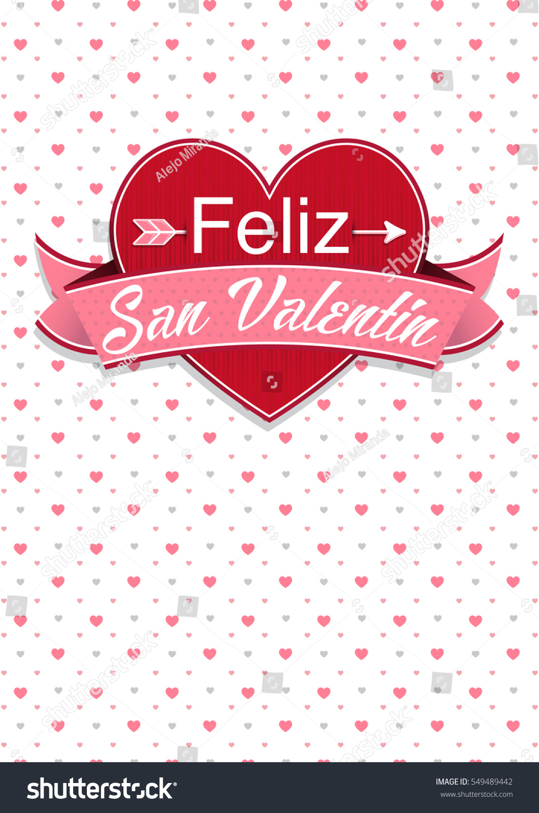 Card Cover With Message: Feliz San Valentin  Happy Valentines Day In  Spanish Language