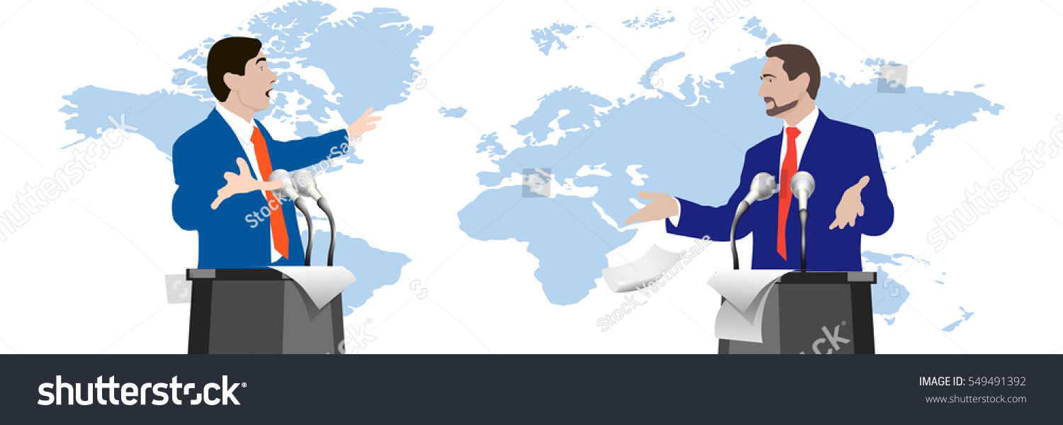 Debate speakers on world map background vector de stock549491392 debate speakers on world map background dispute gestures hands persuasions rhetoric gumiabroncs Choice Image