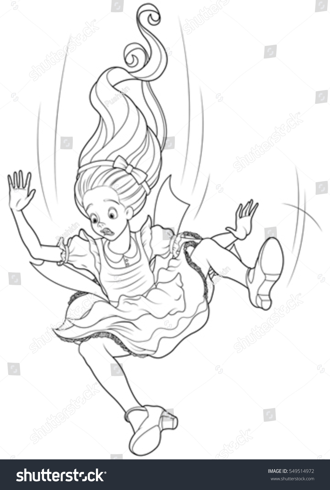 Alice falling down into rabbit hole stock vector royalty free