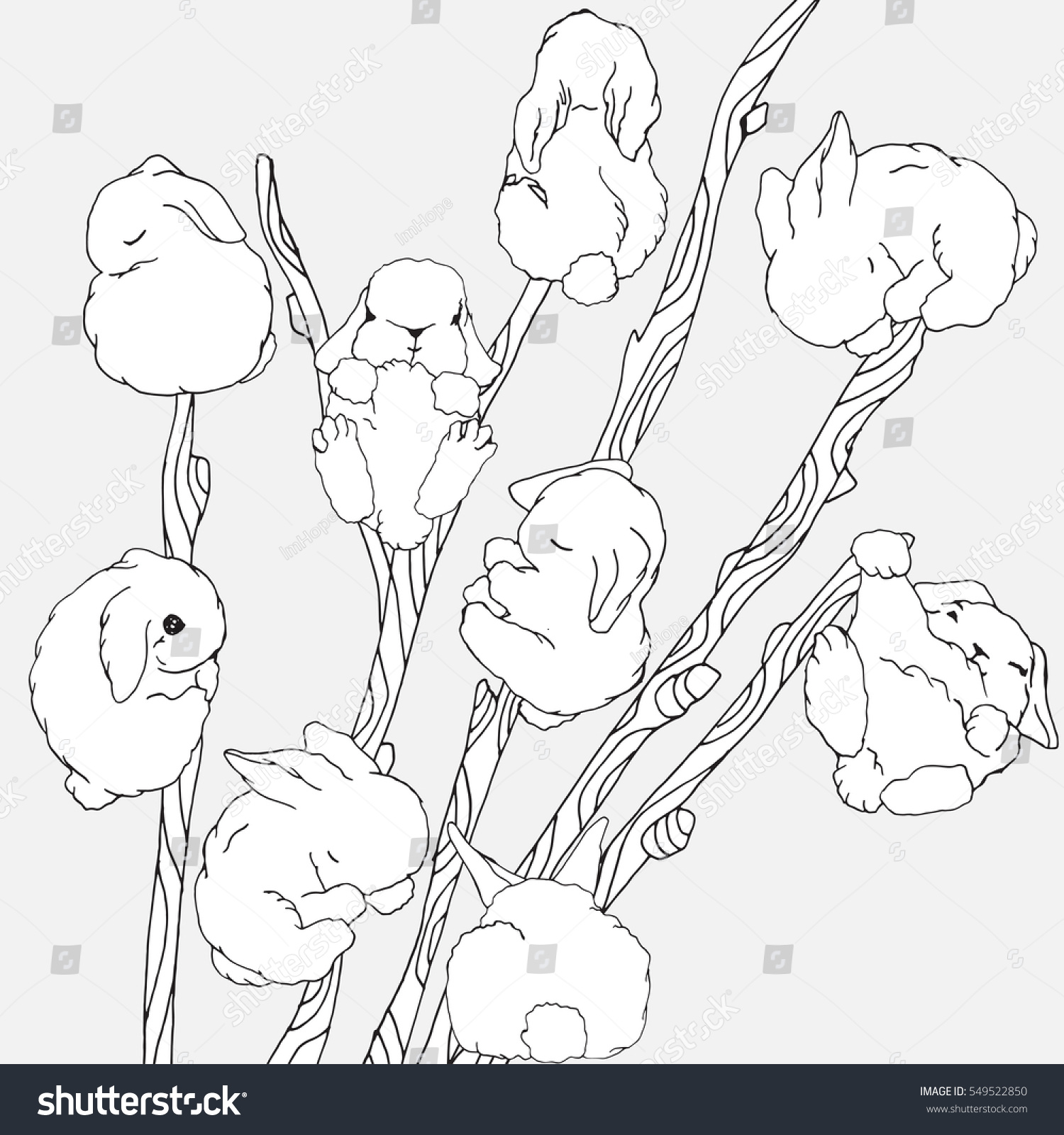 set tall willow sprays cute stock vector 549522850