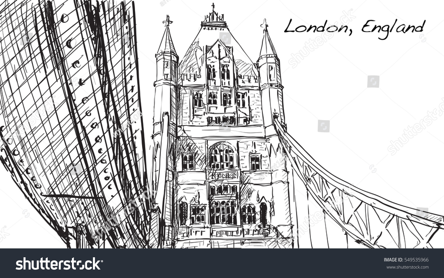 Sketch Drawing In London England Show Tower Bridge Illustration