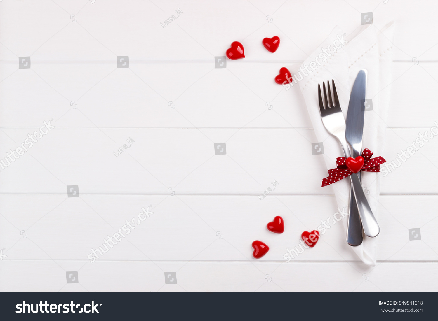 Romantic table setting on white wooden stock photo edit now romantic table setting on white wooden tablelentines day card template maxwellsz
