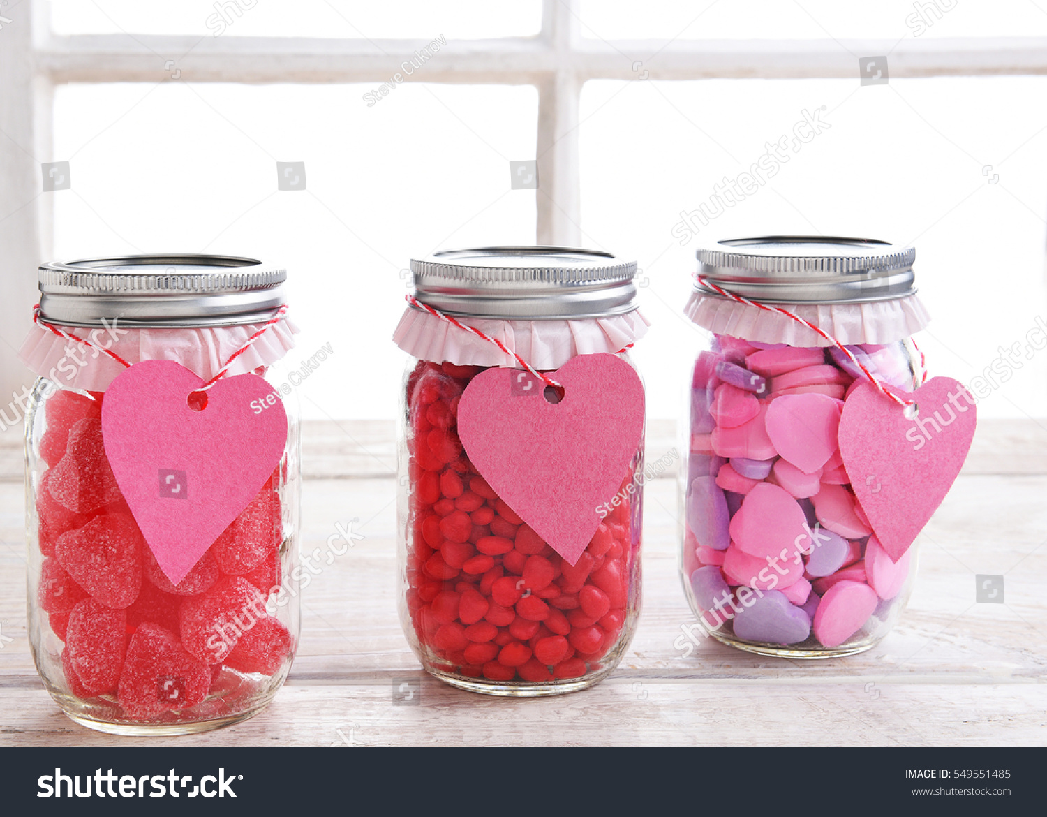 Canning Jars Filled Candy Hearts Decorated Stock Photo (Edit Now ...