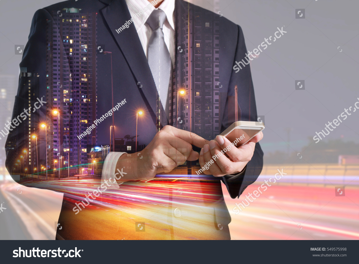 Technology Management Image: Double Exposure Businessman Hand Hold Touch Stock Photo