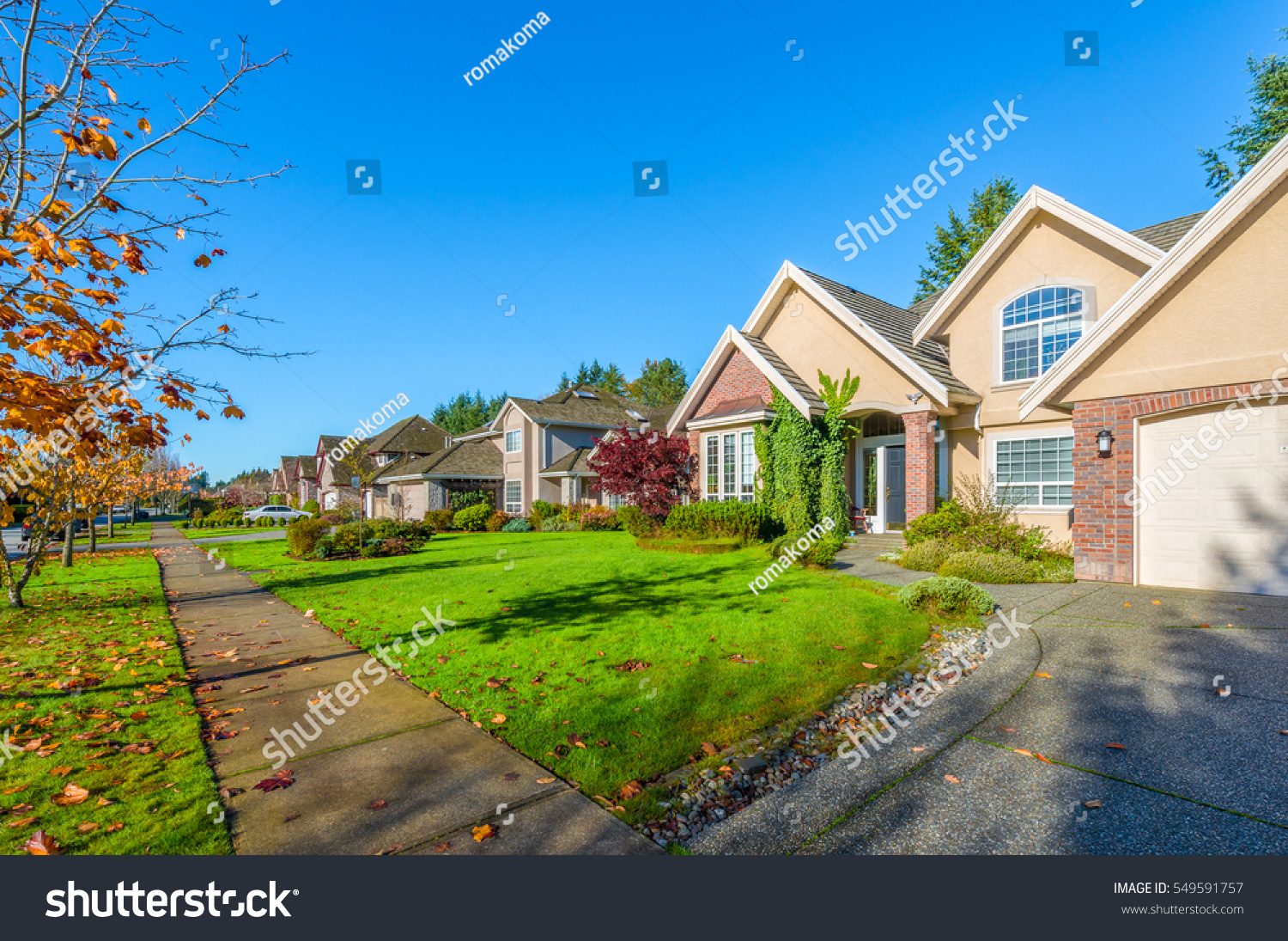 Nice comfortable neighborhood fall autumn time stock photo for Nice houses in canada