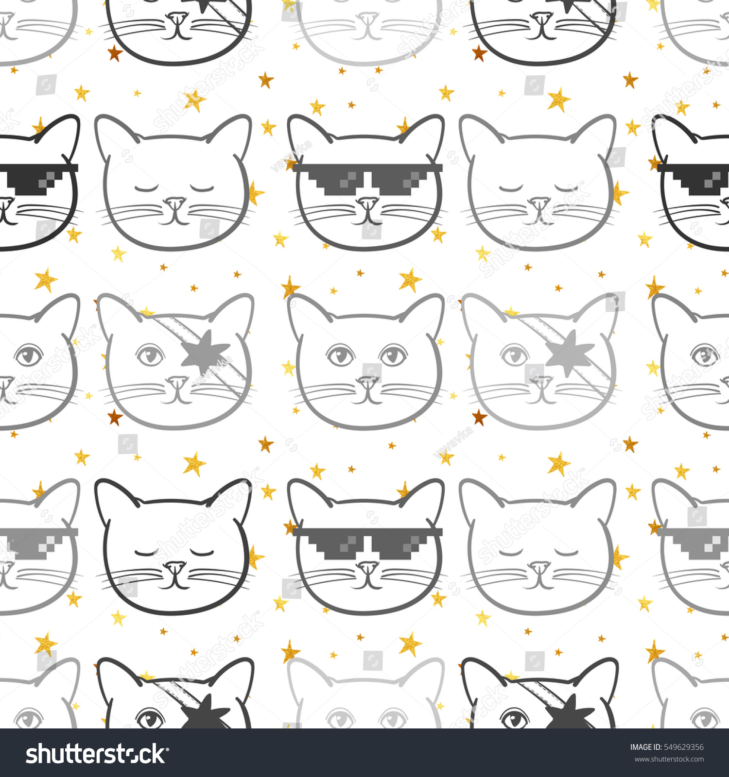 seamless pattern cute cats animal gold stock vector 549629356
