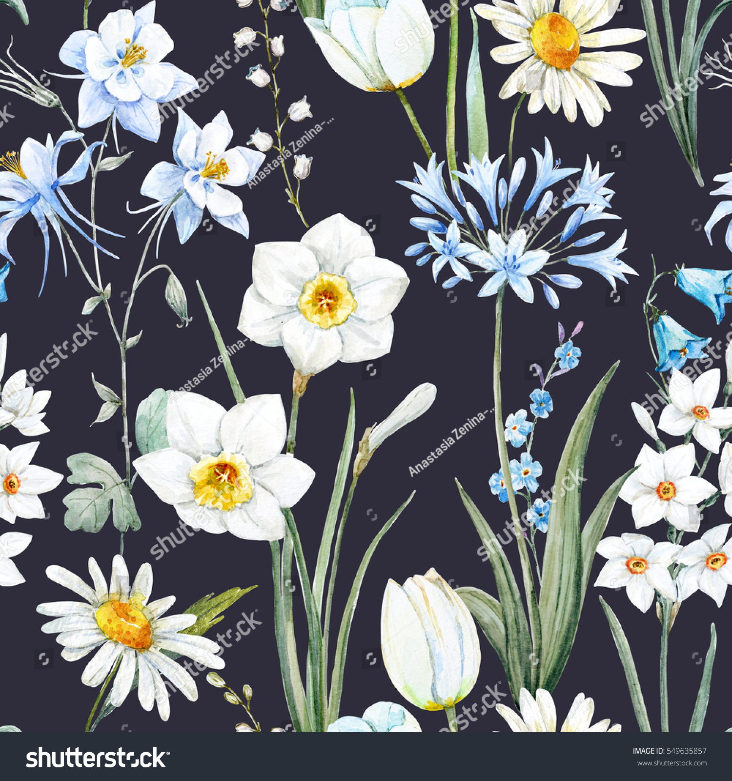 Watercolor botanical floral pattern wallpaper spring daffodil