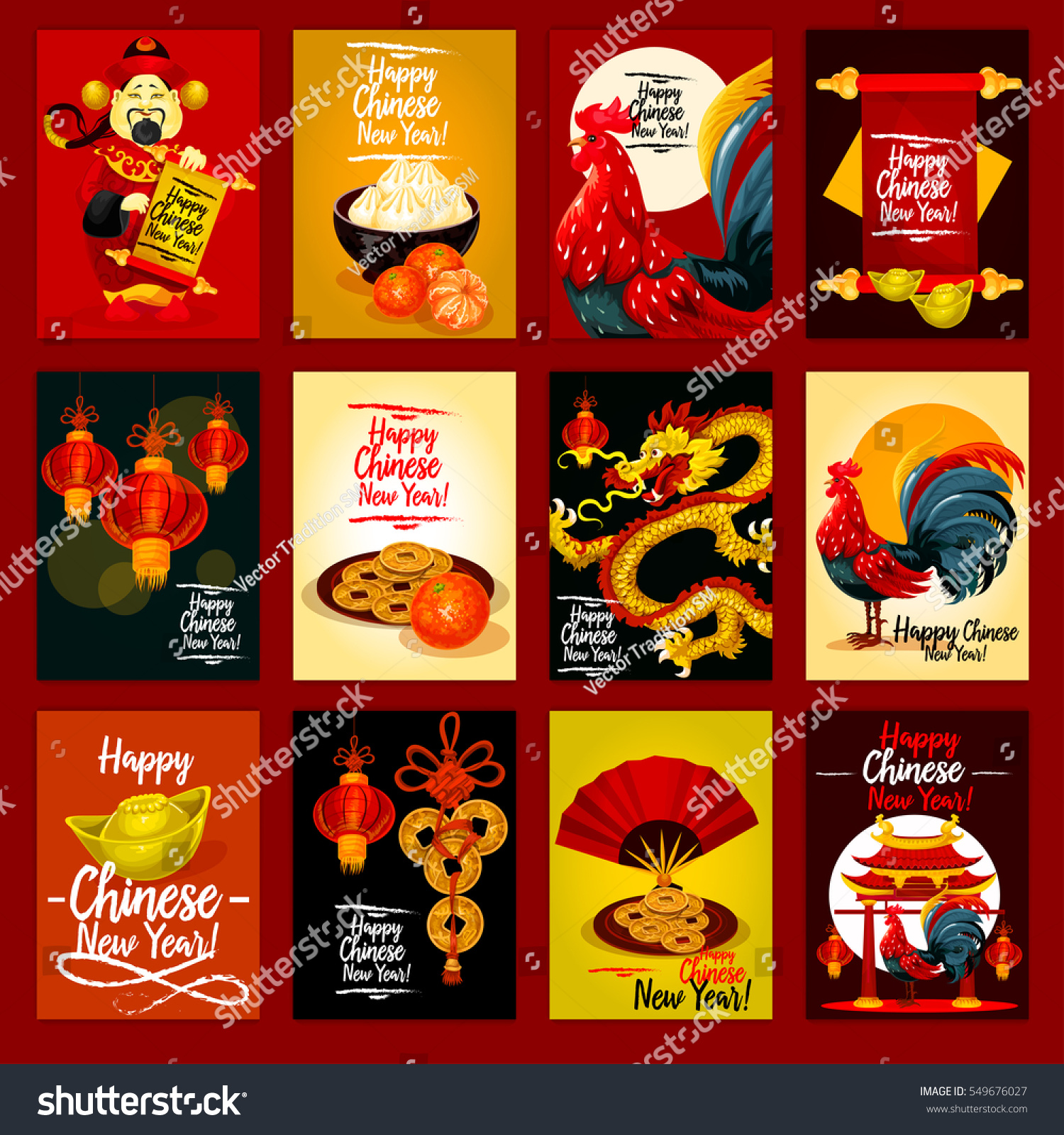 chinese lunar new year greeting card set red lantern rooster golden coin