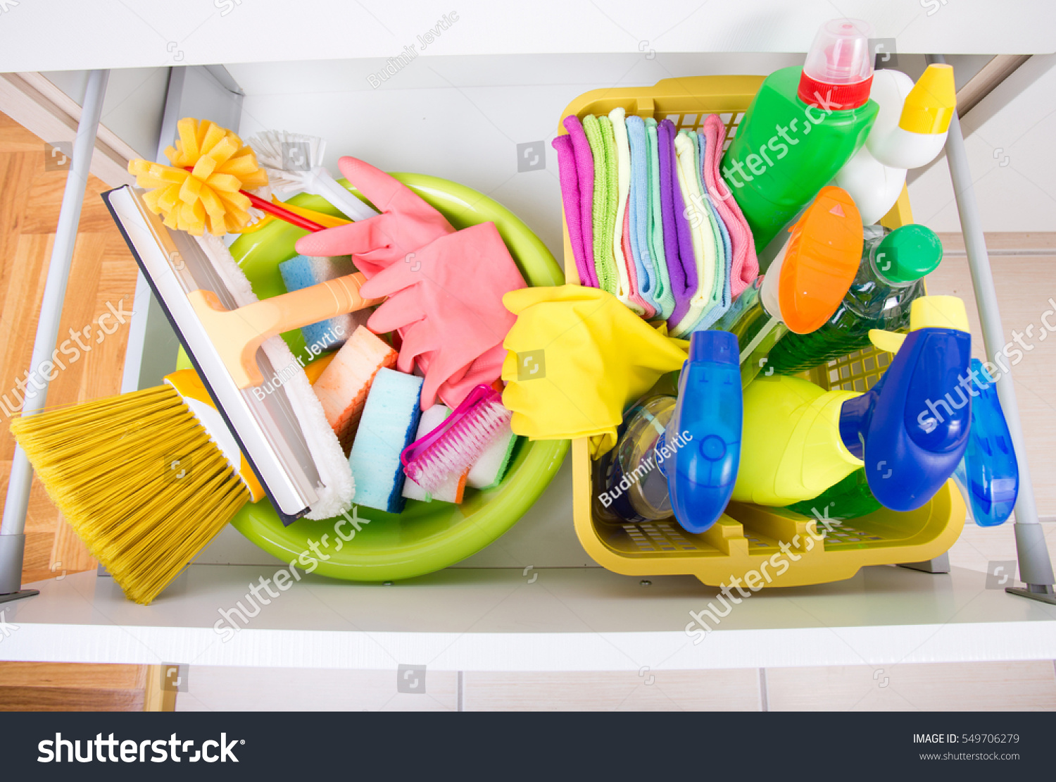 Top view cleaning supplies equipment stored stock foto for Best cleaning products for kitchen cabinets