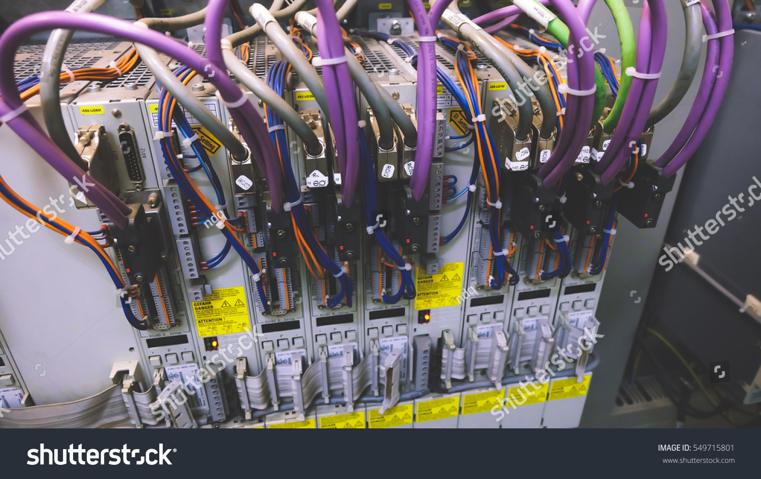 Wiring Plc Control Panel Wires Industrial Stock Photo Edit Now Electronic With Factory