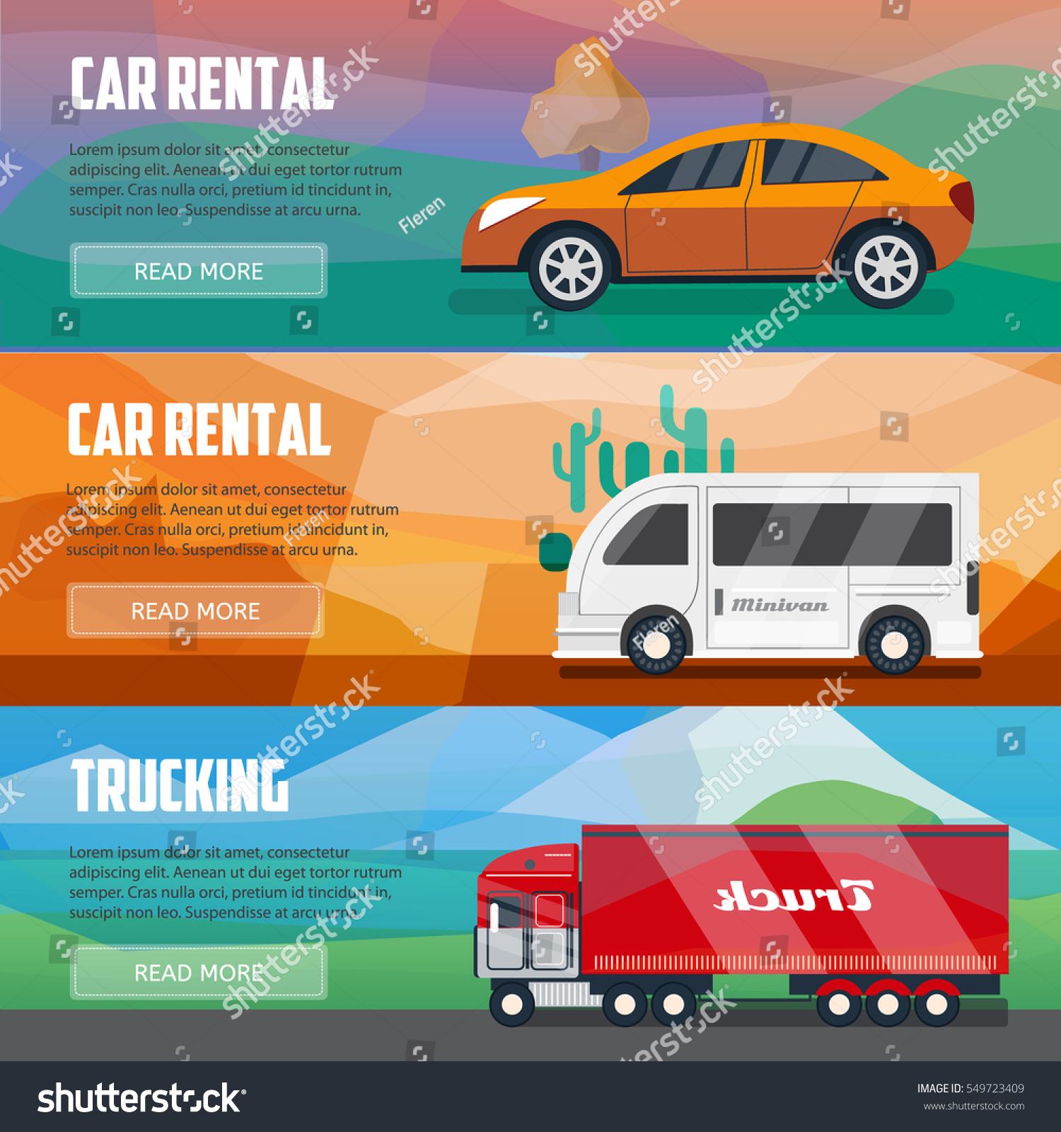 Rental Agencys: Trucking Car Rental Banners Horizontal Banners Stock