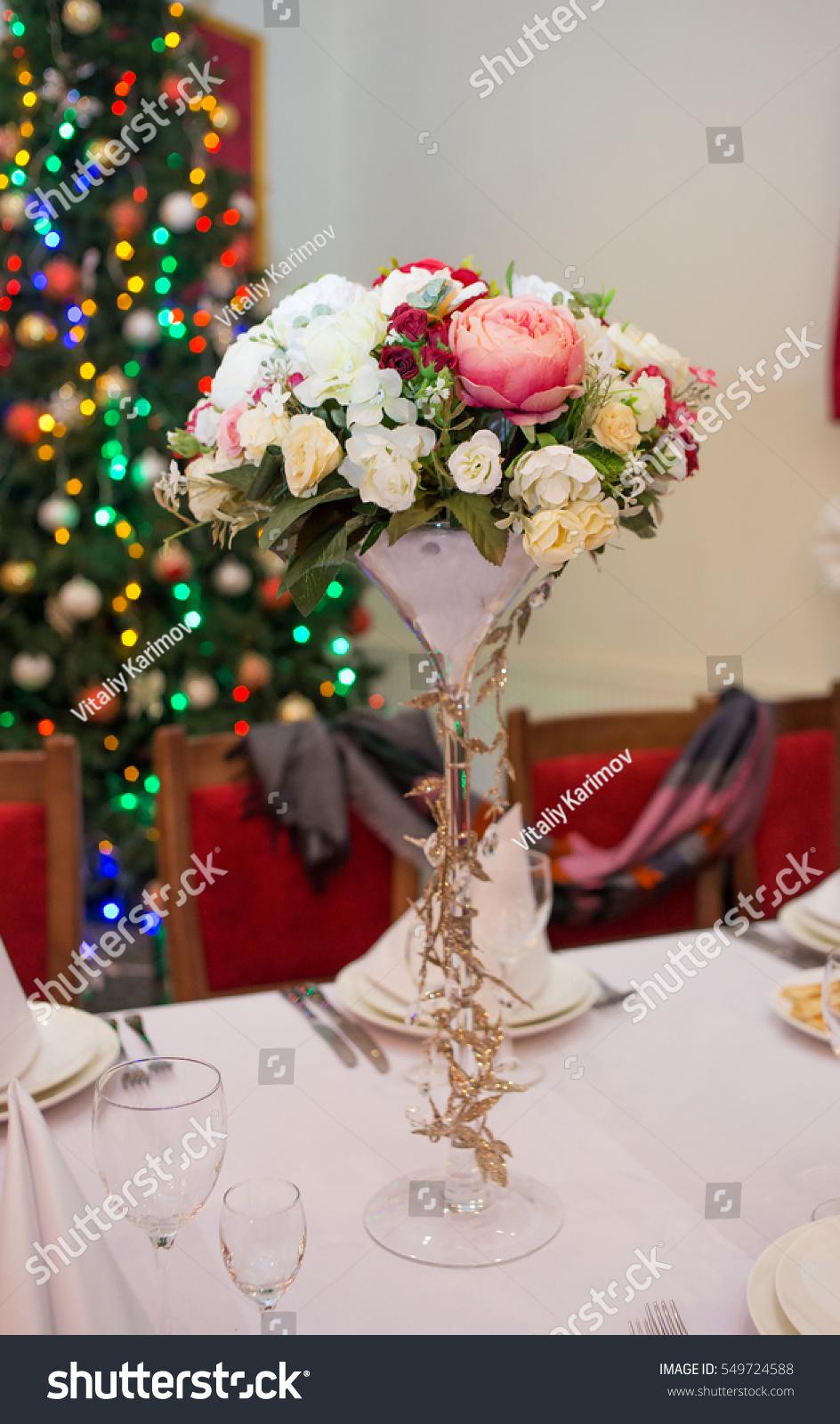 Beautiful Vase Flowers On Table Restaurant Stock Photo Royalty Free