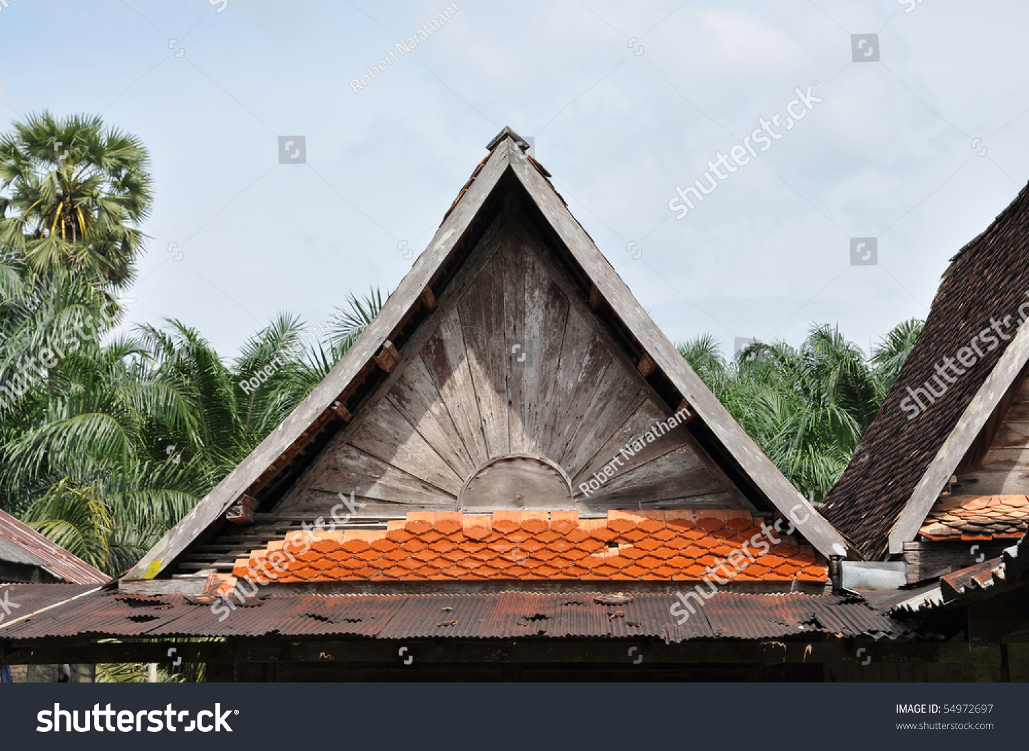 Old Top Roof Triangle Wood Stock Photo 54972697 Shutterstock