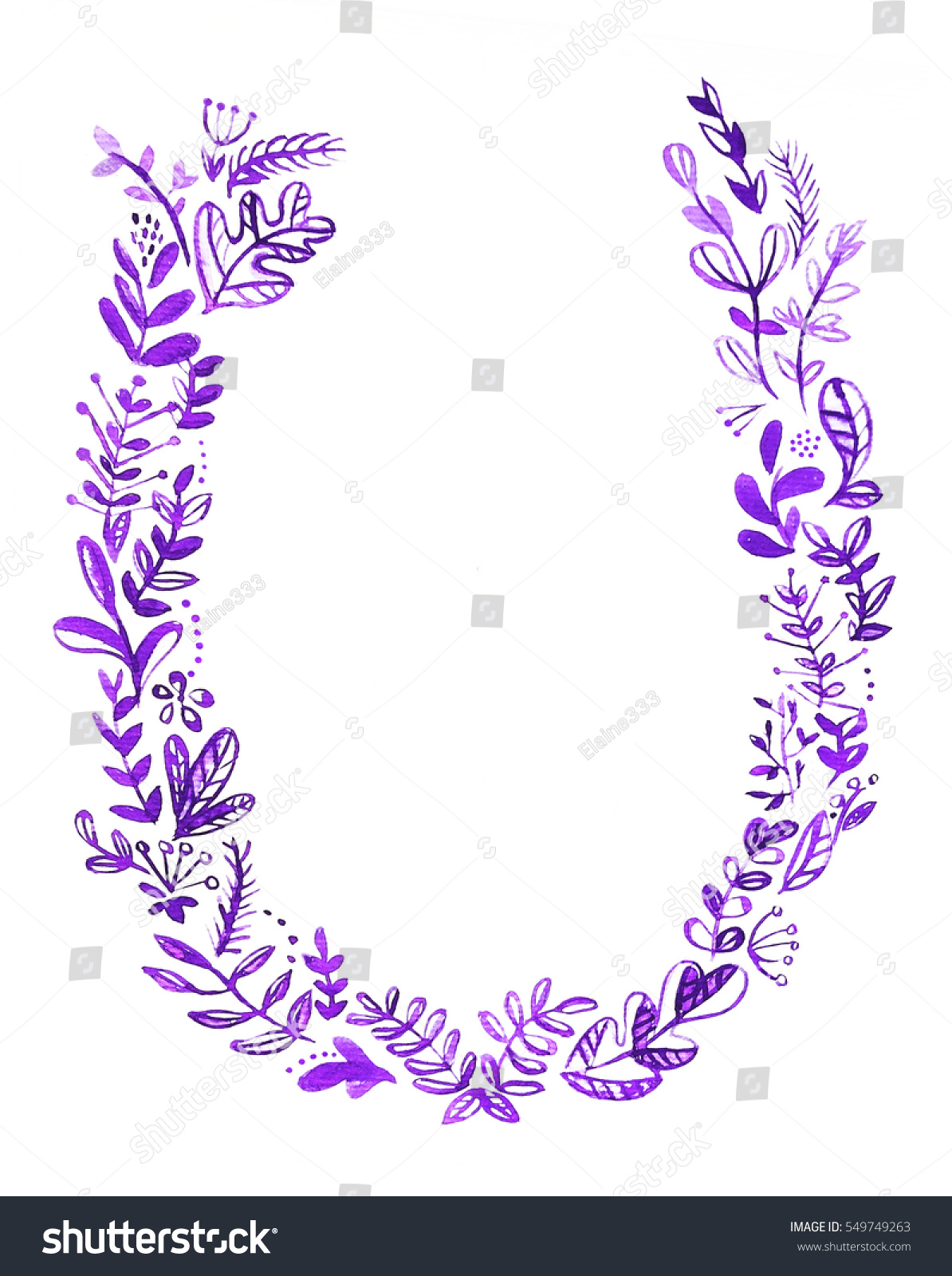 Watercolor Floral Motifs Ornament Frame Perfect Stock Illustration ...