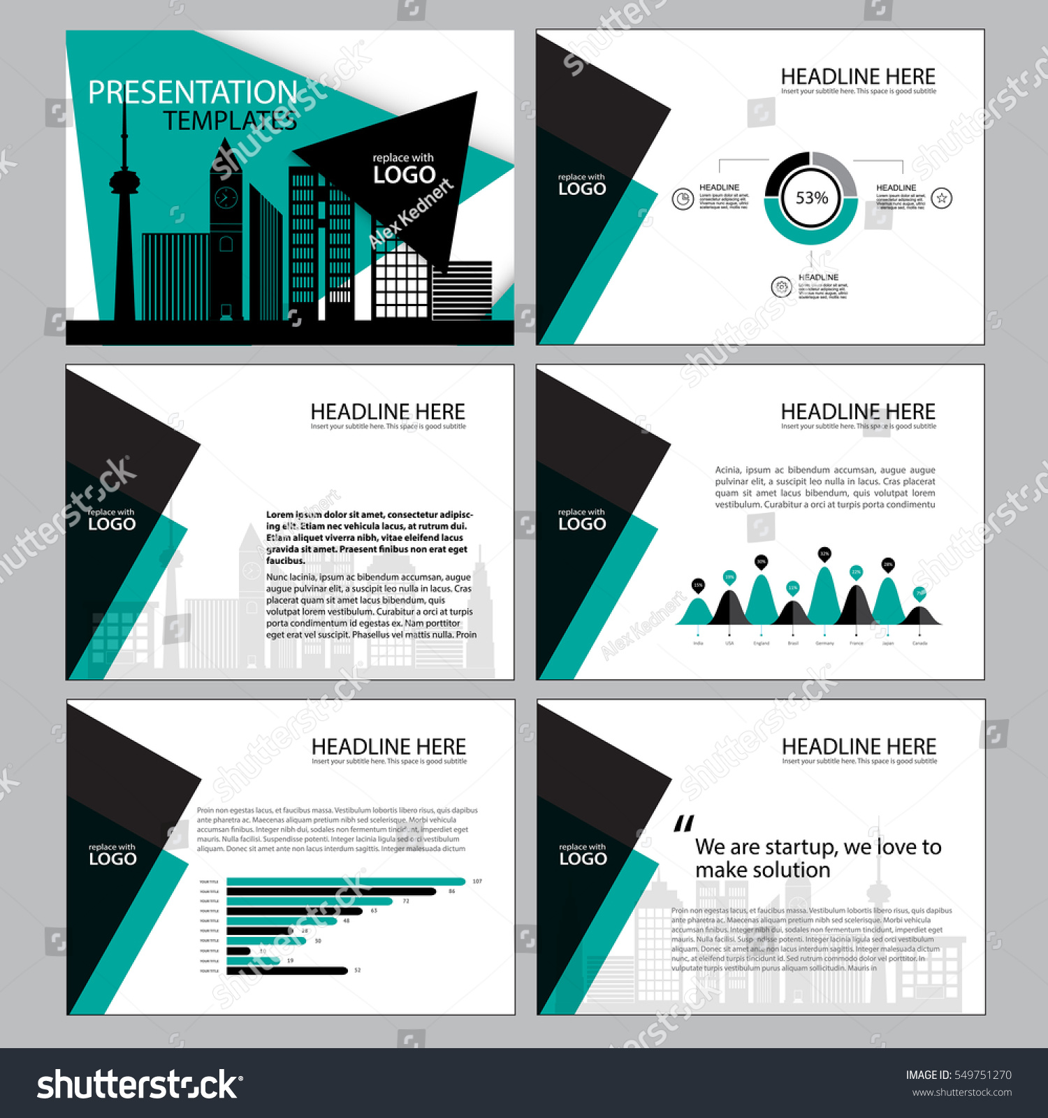Business Template Design Set Presentation And Brochure Annual Report