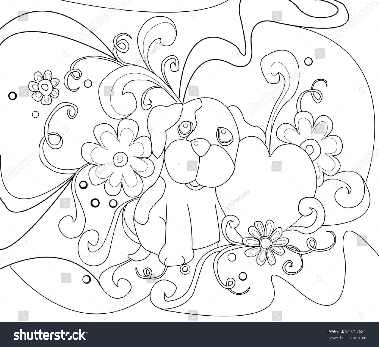 Dog Heart Flowers Line Drawing Coloring Stock Vector (Royalty Free ...