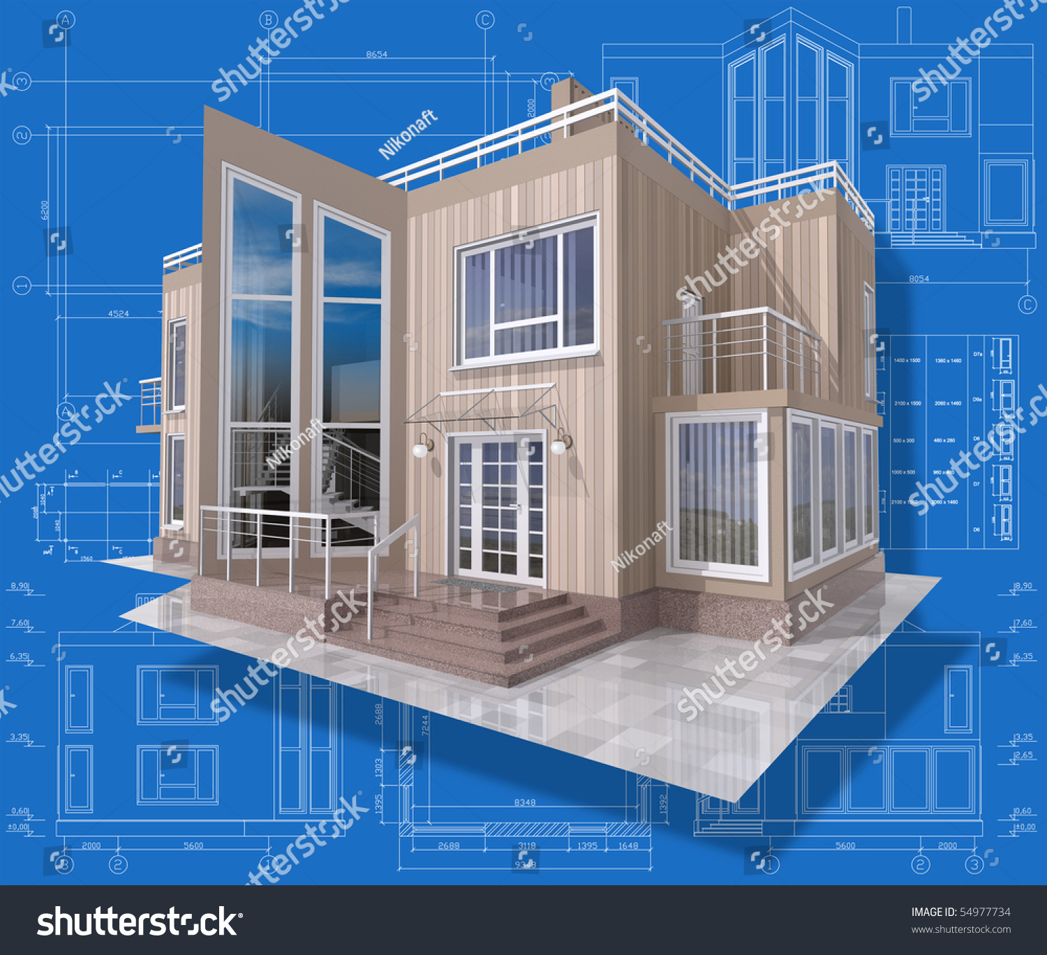3d isometric view of the residential house on architect