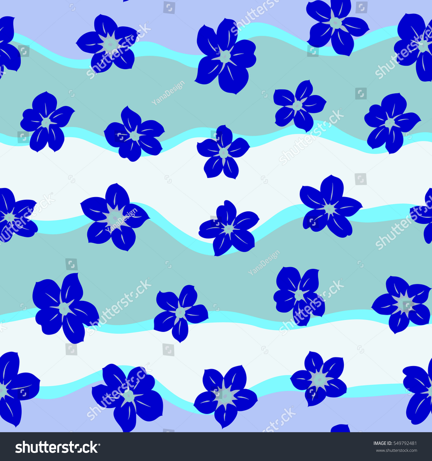 Elegant Seamless Pattern With Decorative Flowers In Blue And Pink