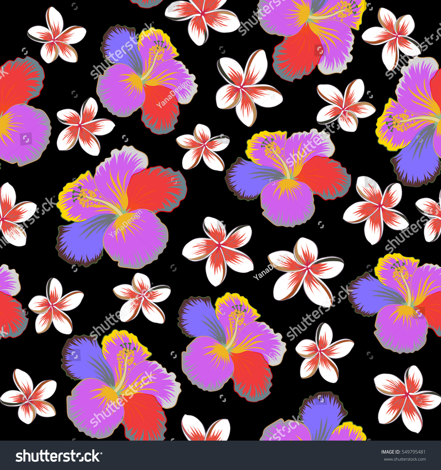 Hibiscus Flowers Seamless Pattern On A Black Background In Neutral