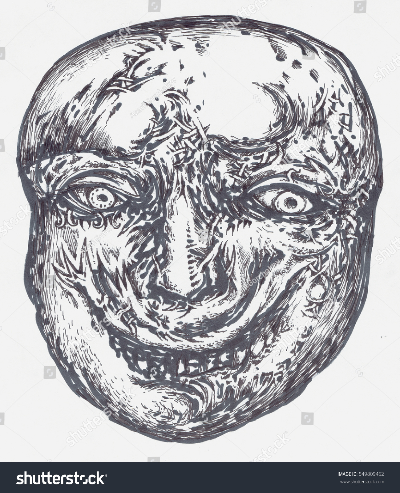 hand drawn portrait of a weird man with anonymous face graphic