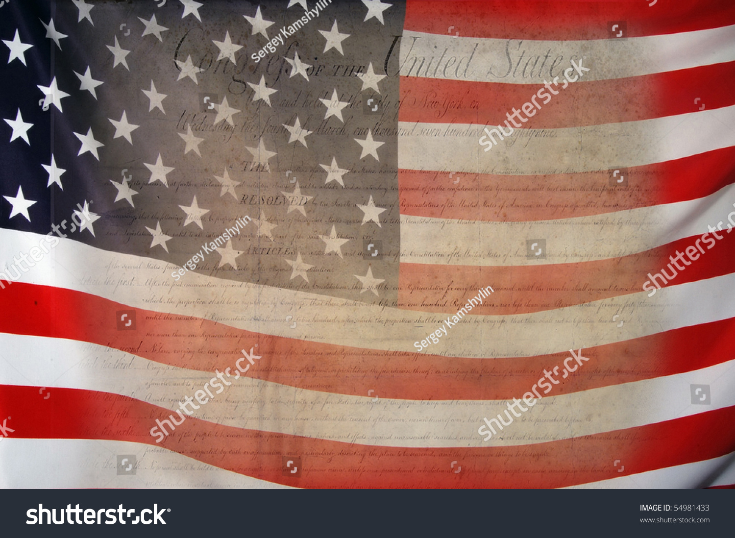 Bill Of Rights With Usa Flag As Background For Clip-Art Stock ...