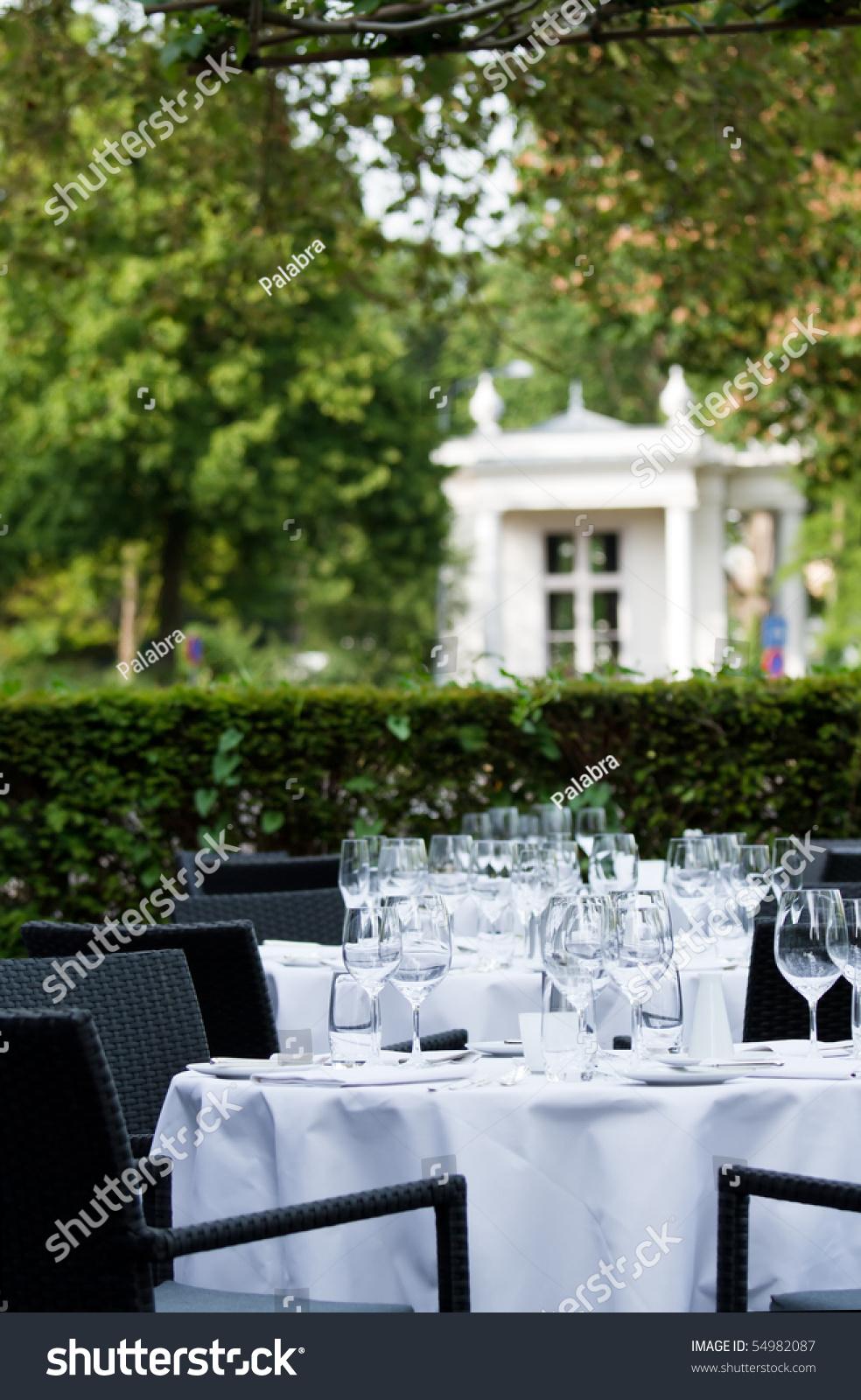 Dinner tables on terrace of star restaurant stock photo for Dinner on the terrace