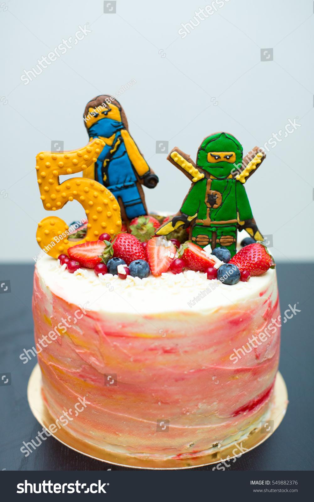 Outstanding Birthday Cake Ninjago Biscuits Berries Stock Photo Edit Now Personalised Birthday Cards Beptaeletsinfo