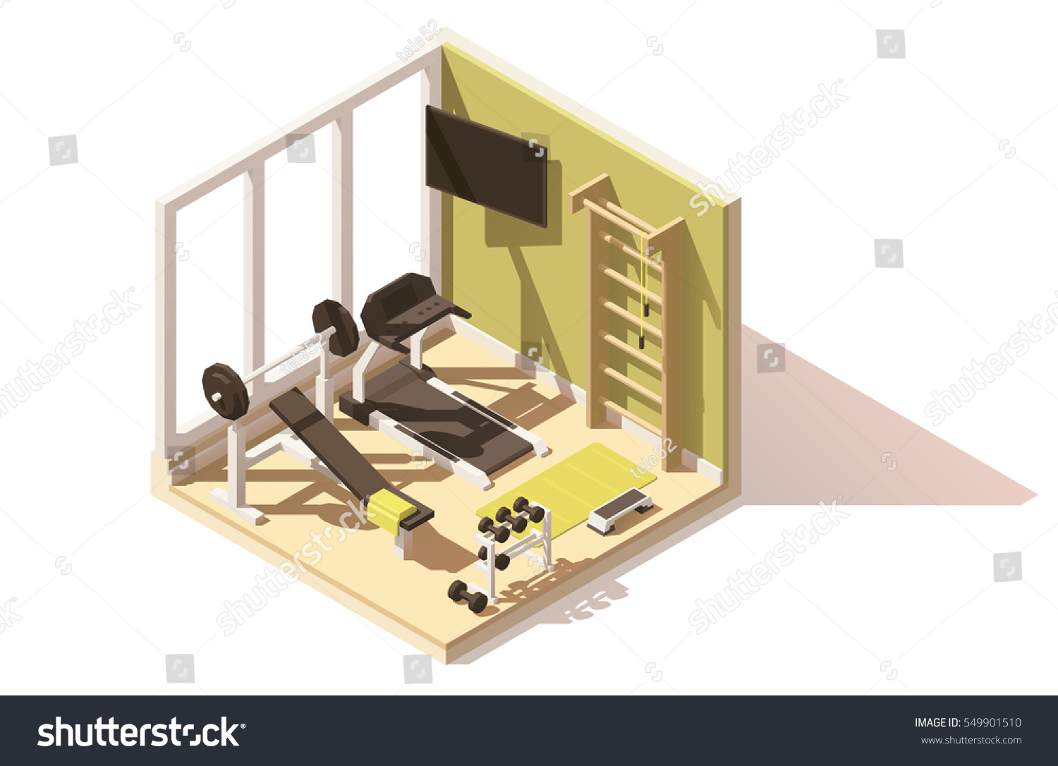 Vector isometric low poly gym fitness stock