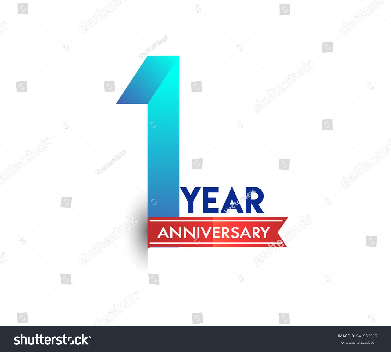 One years anniversary celebration logotype blue stock
