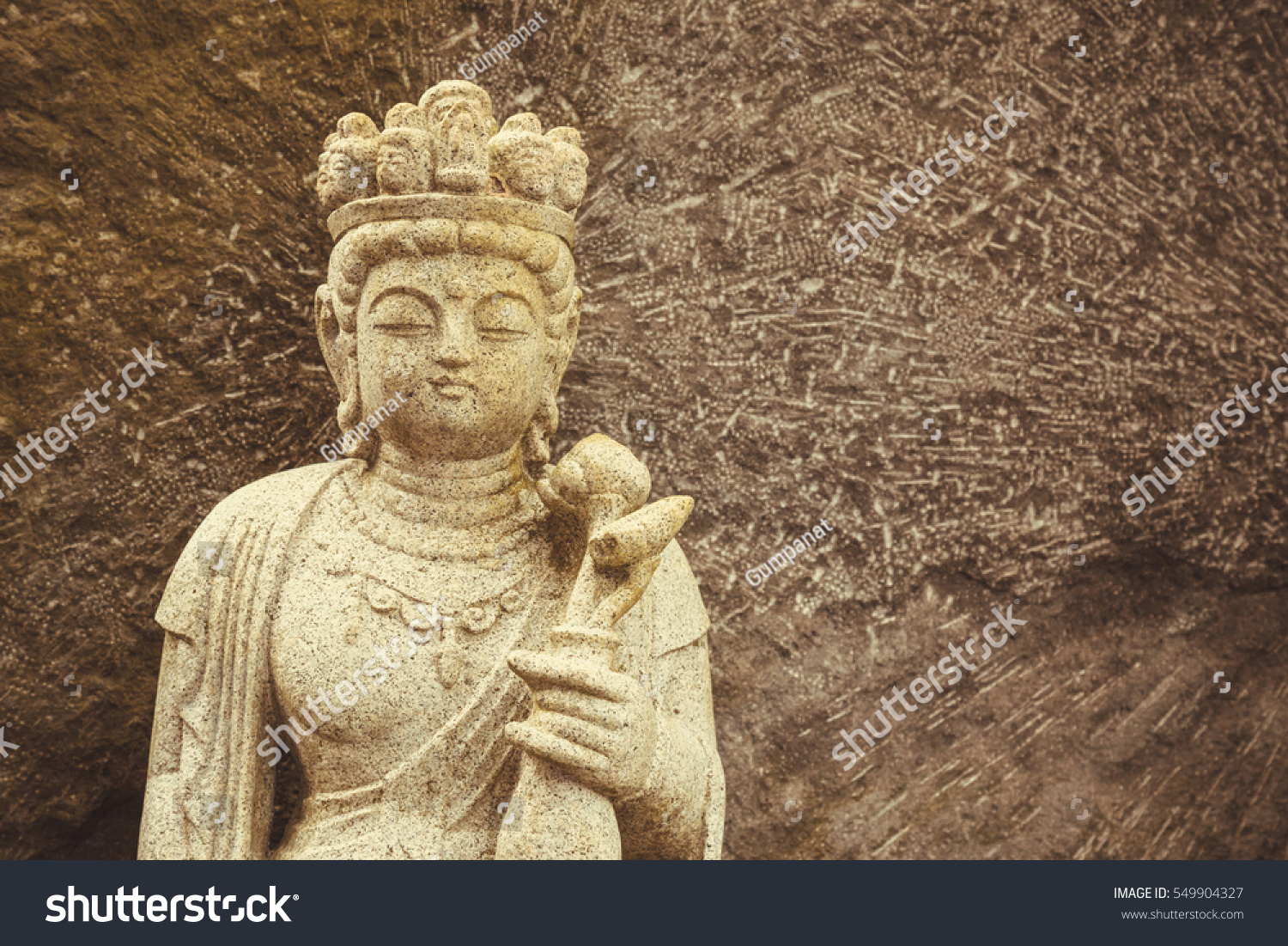 Stone carving buddha statue sculpture japanese stock photo