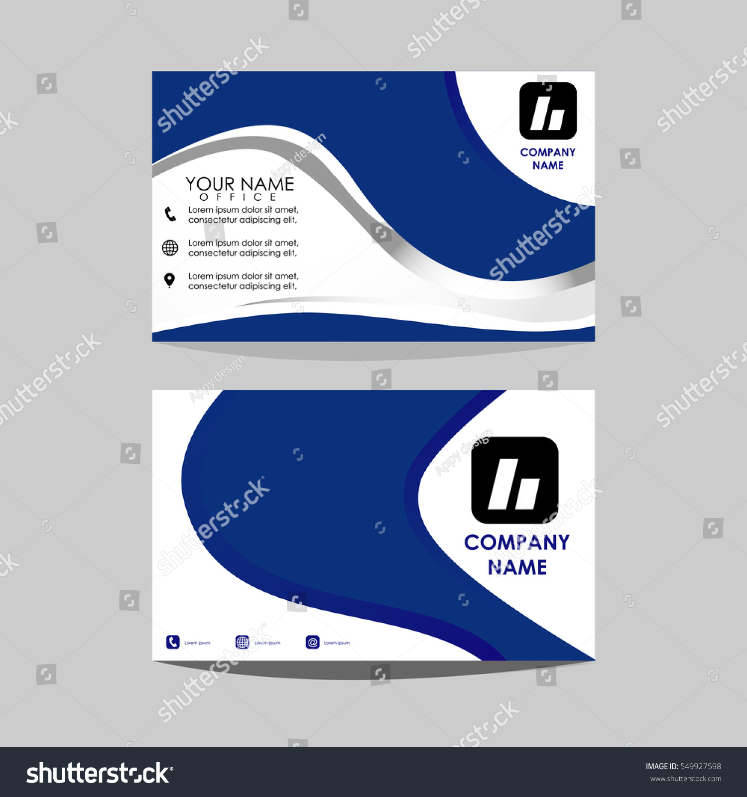 Layout Template Id Card Business Card Stock Vector 549927598 ...