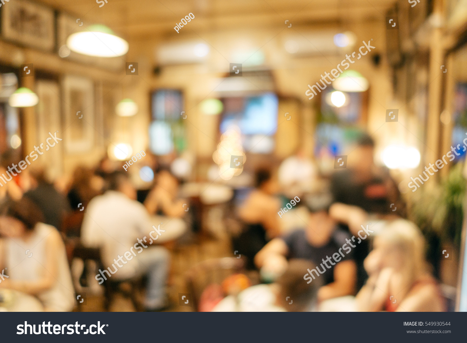Abstract blurred restaurant interior background customers
