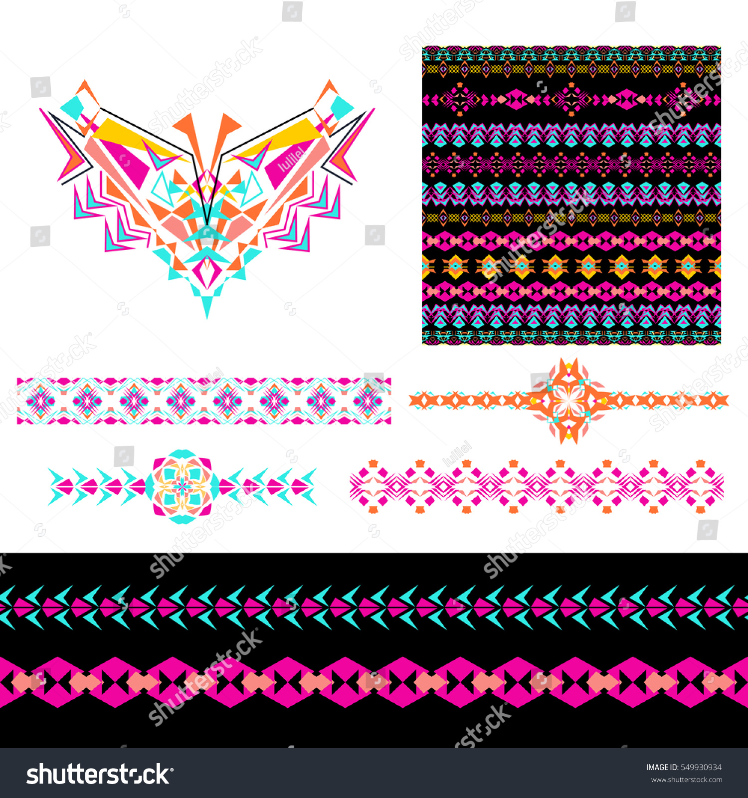 Vector Set Decorative Elements Design Fashion Stock Vector Royalty Free 549930934
