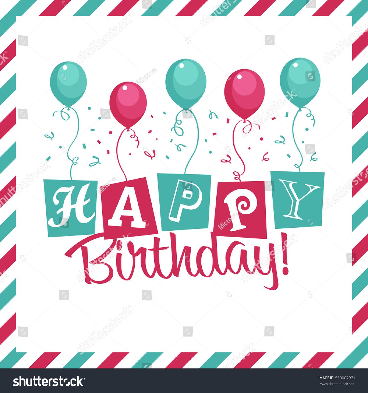 Happy Birthday Invitation Greeting Card Party Stock Vector HD ...