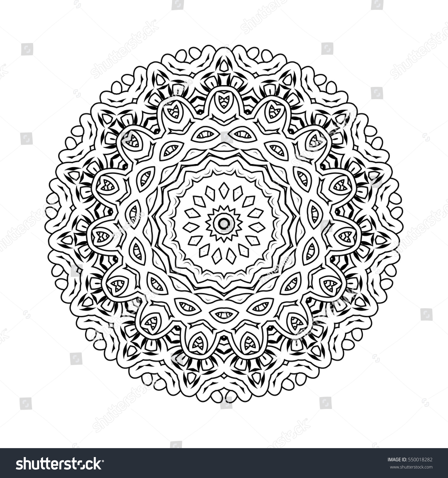 vector print henna mandala flower coloring stock vector 550018282