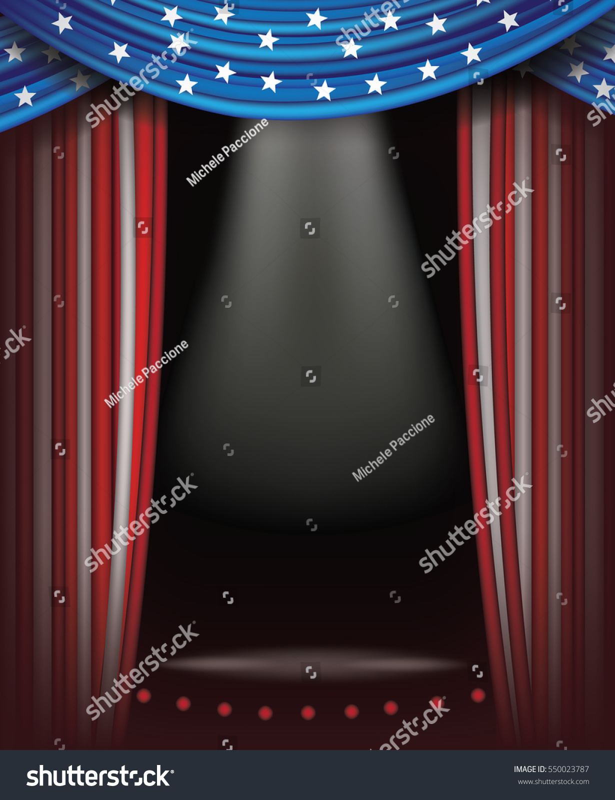 Red, White And Blue Starts And Stripes Curtains Background. Spotlight And  Stage With Copy