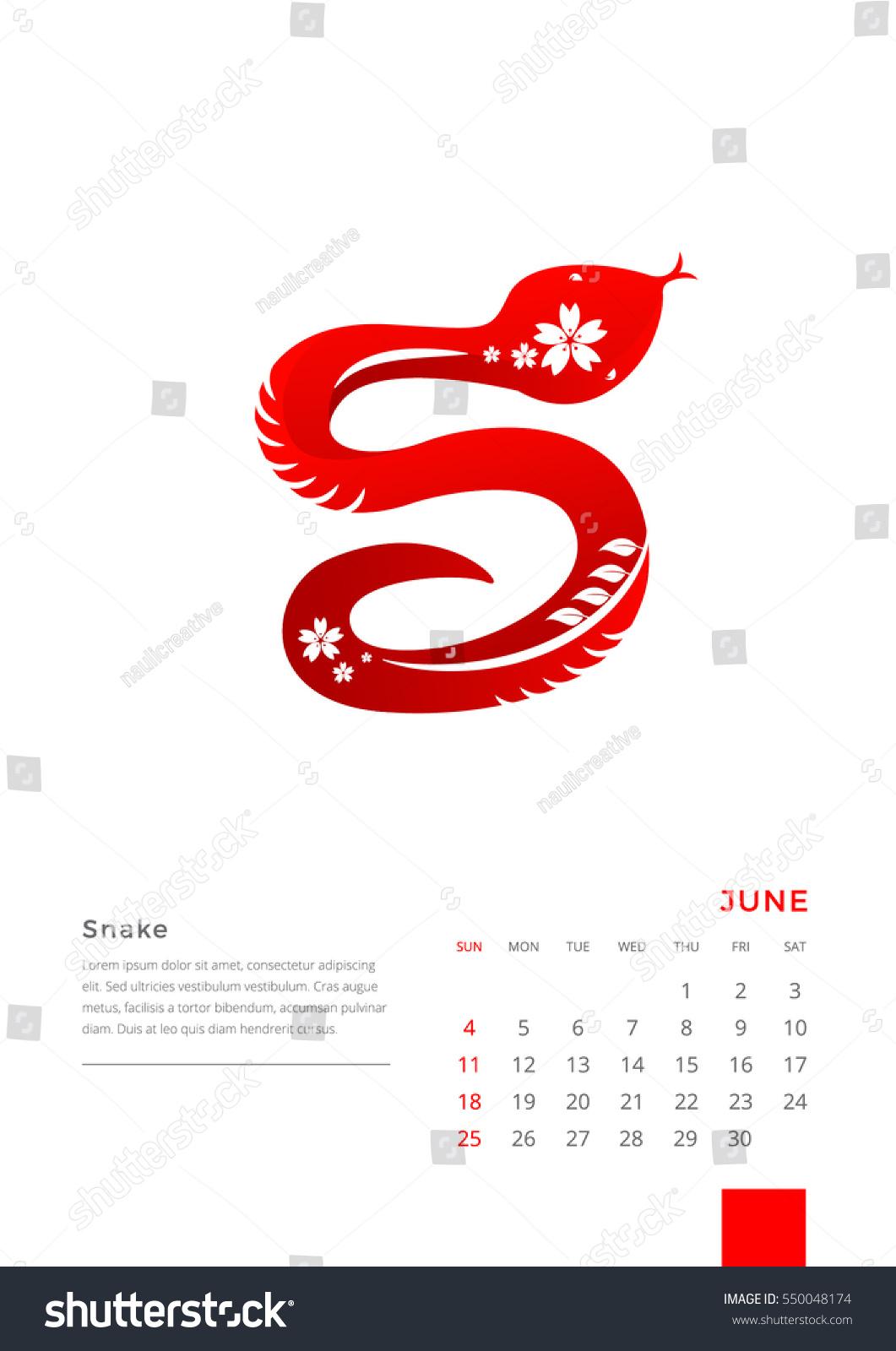 Zodiac Calendar June : Modern animals chinese zodiac june stock vector