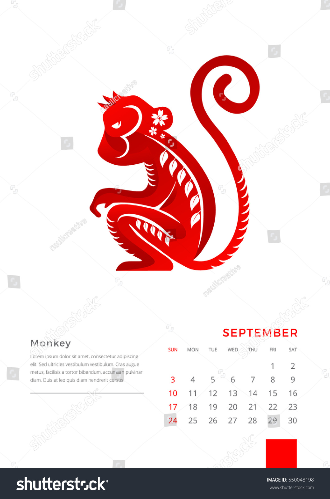 Chinese Calendar Illustration : Modern animals chinese zodiac september stock vector