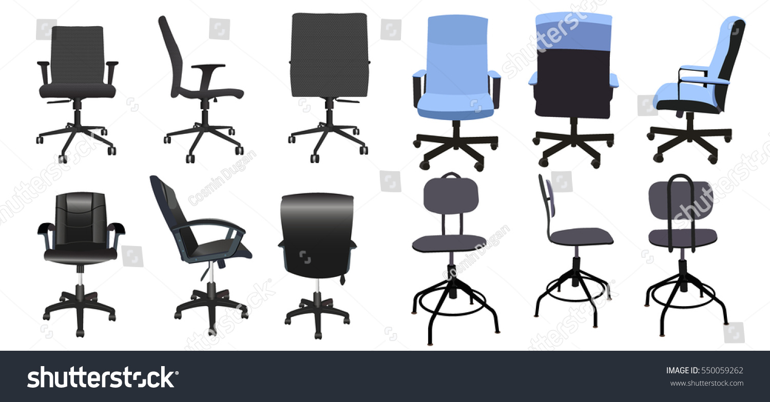 Sensational Desk Chair Front Back Side Collection Stock Vector Royalty Ncnpc Chair Design For Home Ncnpcorg