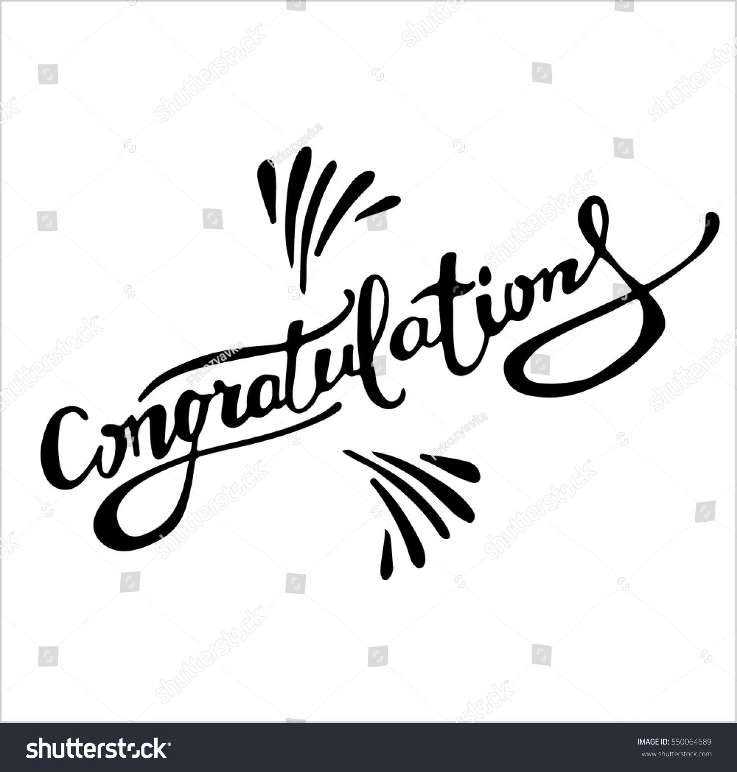 Congratulations calligraphy hand written text lettering