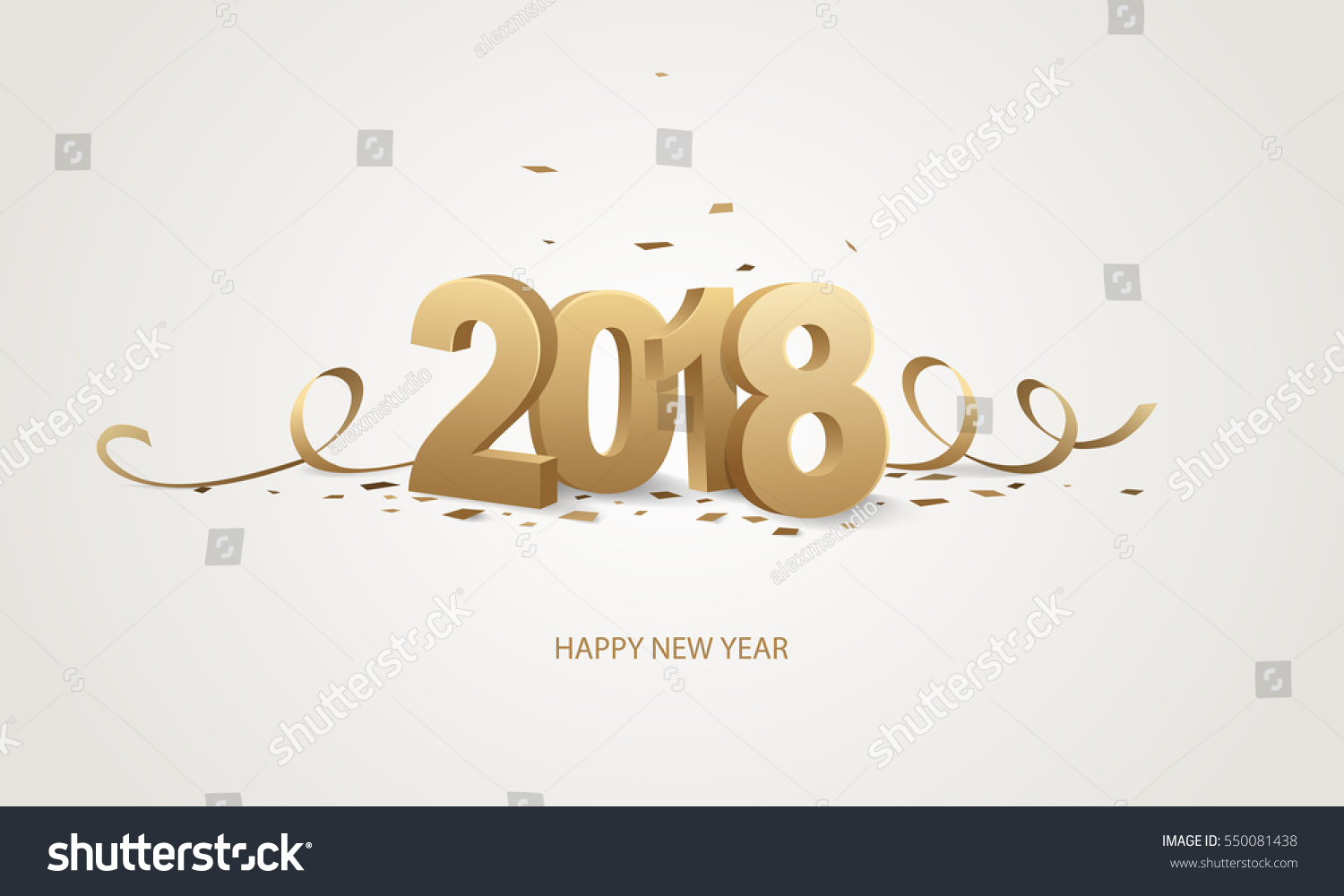 happy new year 2018 golden 3d numbers with ribbons and confetti on a white background