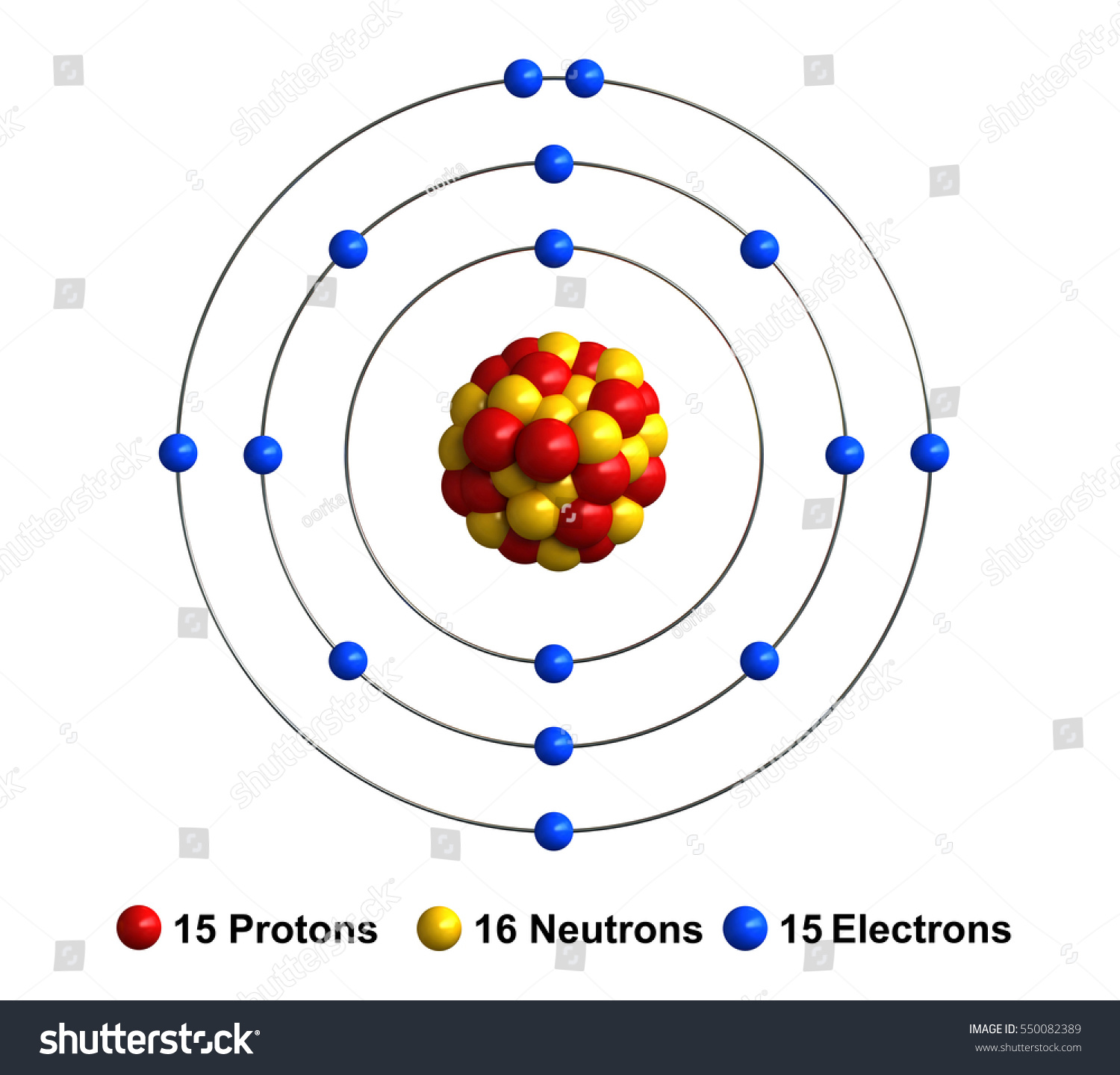 3d Render Atom Structure Phosphorus Isolated Stock ...