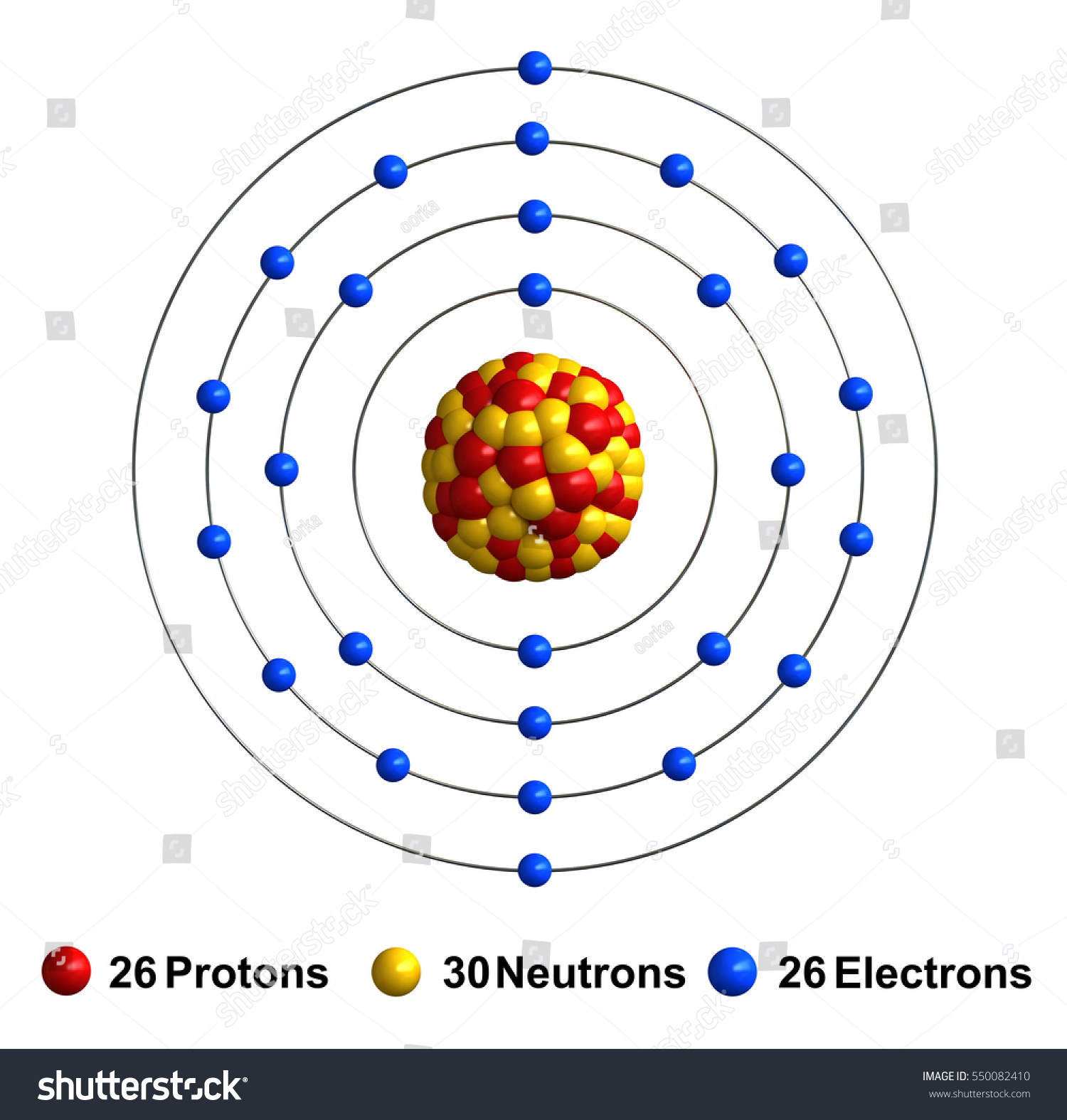 Atom Diagram Of Iron Explore Schematic Wiring Oxygen Structure Stock Photo 3 D Render Isolated Illustration 550082410 Rh Shutterstock Com Chlorine